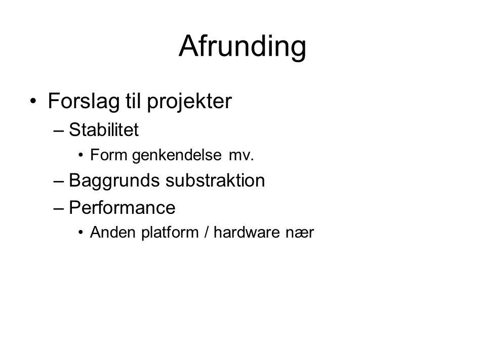 Afrunding Forslag til projekter –Stabilitet Form genkendelse mv.