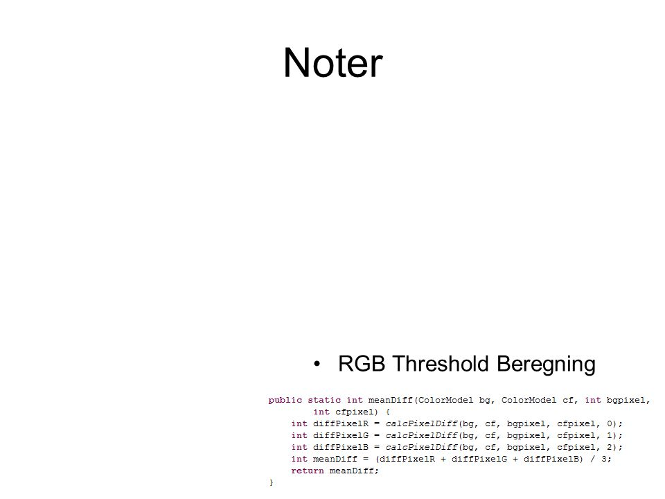 Noter RGB Threshold Beregning