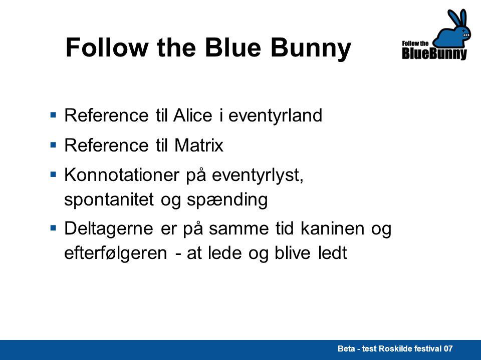 Beta - test Roskilde festival 07 Follow the Blue Bunny  Reference til Alice i eventyrland  Reference til Matrix  Konnotationer på eventyrlyst, spontanitet og spænding  Deltagerne er på samme tid kaninen og efterfølgeren - at lede og blive ledt