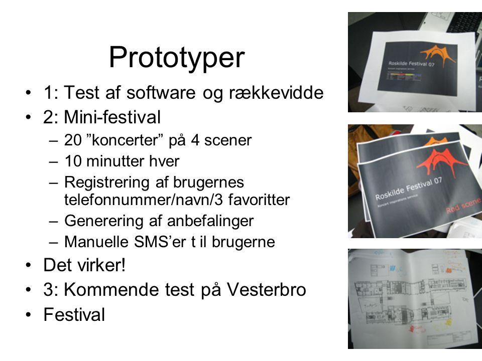Prototyper 1: Test af software og rækkevidde 2: Mini-festival –20 koncerter på 4 scener –10 minutter hver –Registrering af brugernes telefonnummer/navn/3 favoritter –Generering af anbefalinger –Manuelle SMS'er t il brugerne Det virker.