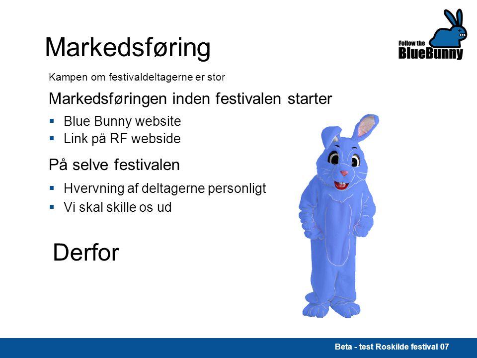 Beta - test Roskilde festival 07 Markedsføring Kampen om festivaldeltagerne er stor Markedsføringen inden festivalen starter  Blue Bunny website  Link på RF webside På selve festivalen  Hvervning af deltagerne personligt  Vi skal skille os ud Derfor