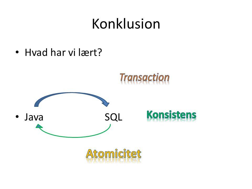 Konklusion Hvad har vi lært Java SQL