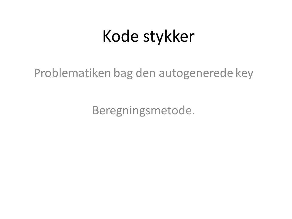 Kode stykker Problematiken bag den autogenerede key Beregningsmetode.