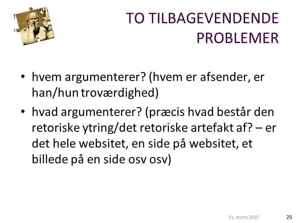 2931. marts 2015 TO TILBAGEVENDENDE PROBLEMER hvem argumenterer.