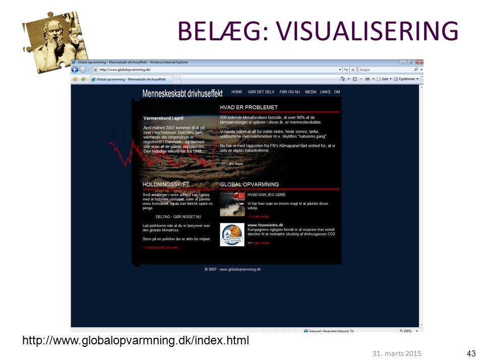 4331. marts 2015 http://www.globalopvarmning.dk/index.html BELÆG: VISUALISERING