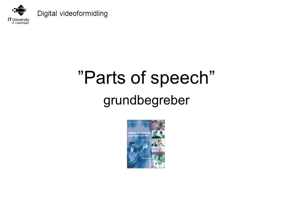 Digital videoformidling Parts of speech grundbegreber