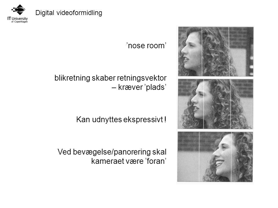 Digital videoformidling 'nose room' blikretning skaber retningsvektor – kræver 'plads' Kan udnyttes ekspressivt .
