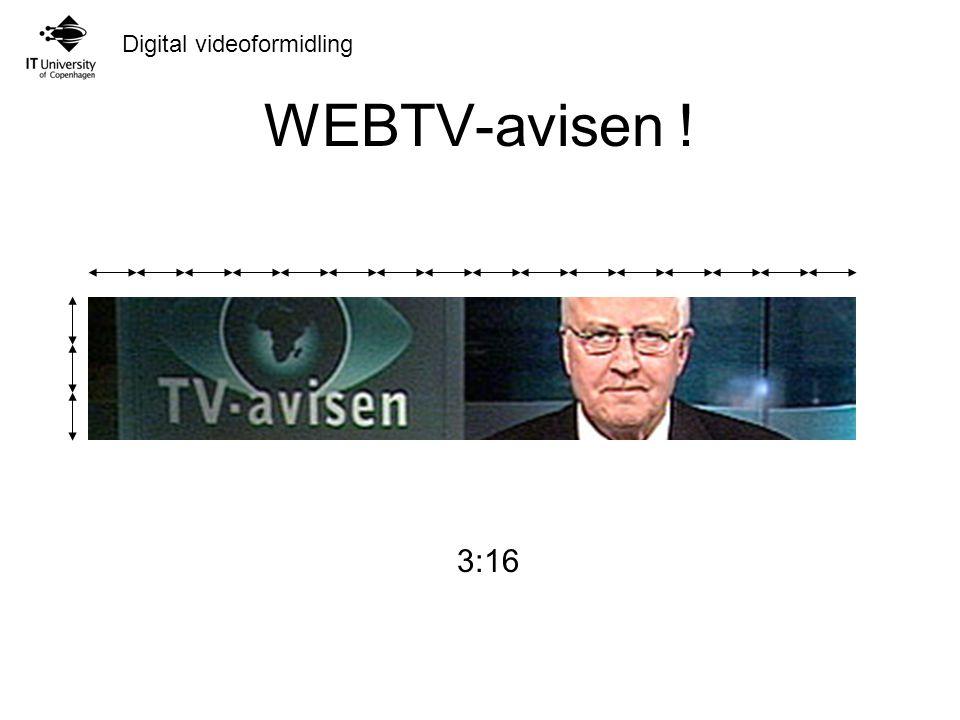 Digital videoformidling WEBTV-avisen ! 9:16 3:16