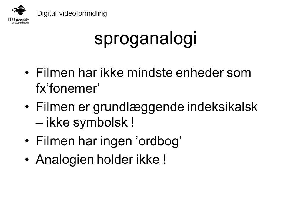 Digital videoformidling sproganalogi Filmen har ikke mindste enheder som fx'fonemer' Filmen er grundlæggende indeksikalsk – ikke symbolsk .