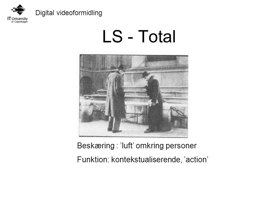 Digital videoformidling LS - Total Beskæring : 'luft' omkring personer Funktion: kontekstualiserende, 'action'