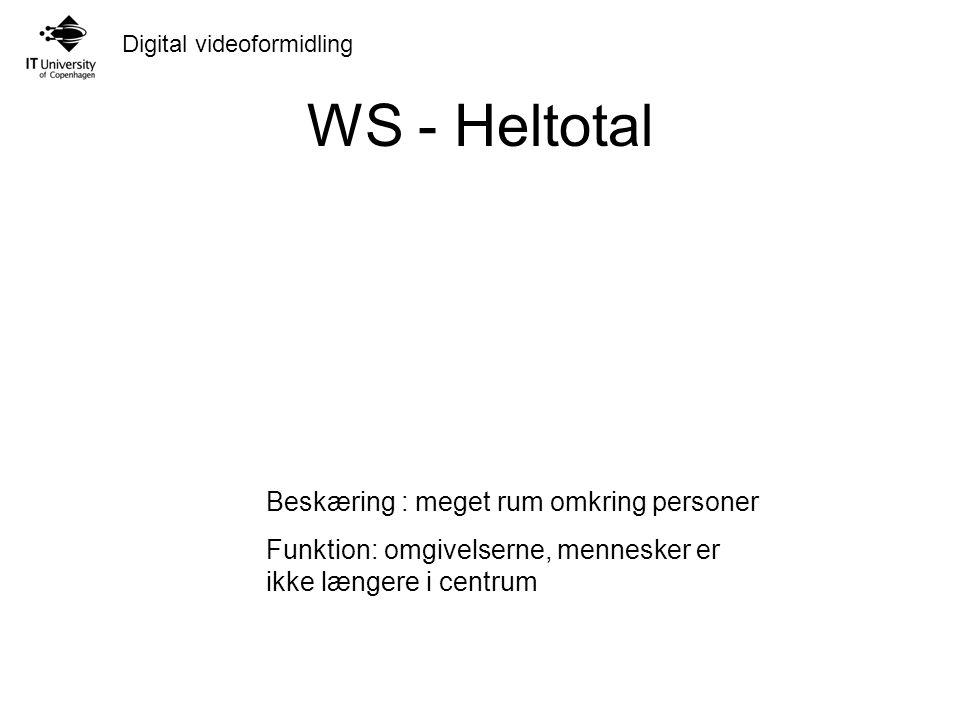 Digital videoformidling WS - Heltotal Beskæring : meget rum omkring personer Funktion: omgivelserne, mennesker er ikke længere i centrum