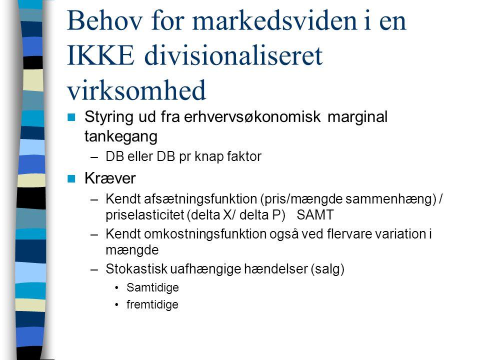 Behov for markedsviden i en IKKE divisionaliseret virksomhed Styring ud fra erhvervsøkonomisk marginal tankegang –DB eller DB pr knap faktor Kræver –Kendt afsætningsfunktion (pris/mængde sammenhæng) / priselasticitet (delta X/ delta P) SAMT –Kendt omkostningsfunktion også ved flervare variation i mængde –Stokastisk uafhængige hændelser (salg) Samtidige fremtidige