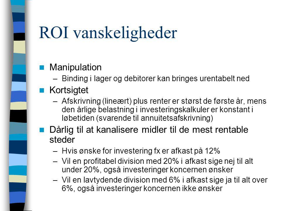 ROI vanskeligheder Manipulation –Binding i lager og debitorer kan bringes urentabelt ned Kortsigtet –Afskrivning (lineært) plus renter er størst de første år, mens den årlige belastning i investeringskalkuler er konstant i løbetiden (svarende til annuitetsafskrivning) Dårlig til at kanalisere midler til de mest rentable steder –Hvis ønske for investering fx er afkast på 12% –Vil en profitabel division med 20% i afkast sige nej til alt under 20%, også investeringer koncernen ønsker –Vil en lavtydende division med 6% i afkast sige ja til alt over 6%, også investeringer koncernen ikke ønsker