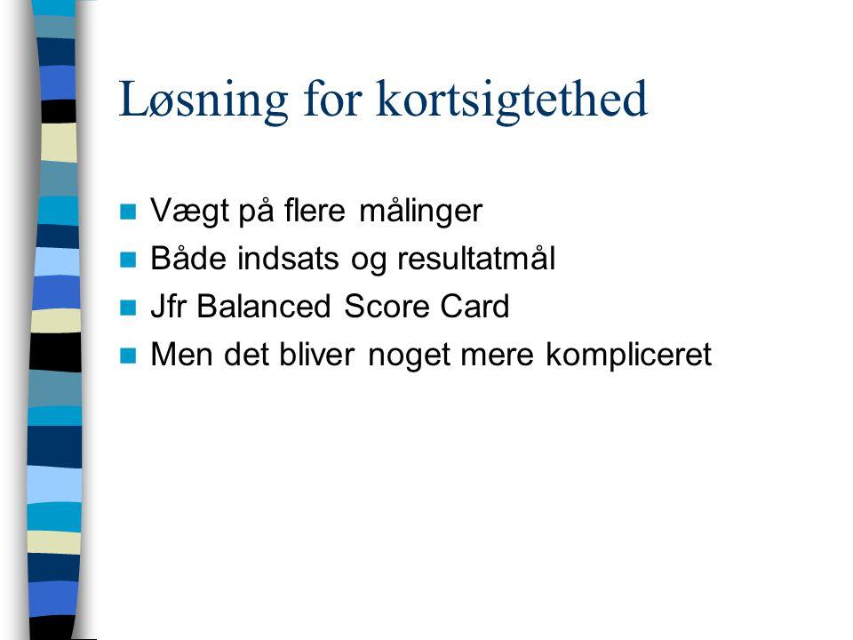 Løsning for kortsigtethed Vægt på flere målinger Både indsats og resultatmål Jfr Balanced Score Card Men det bliver noget mere kompliceret
