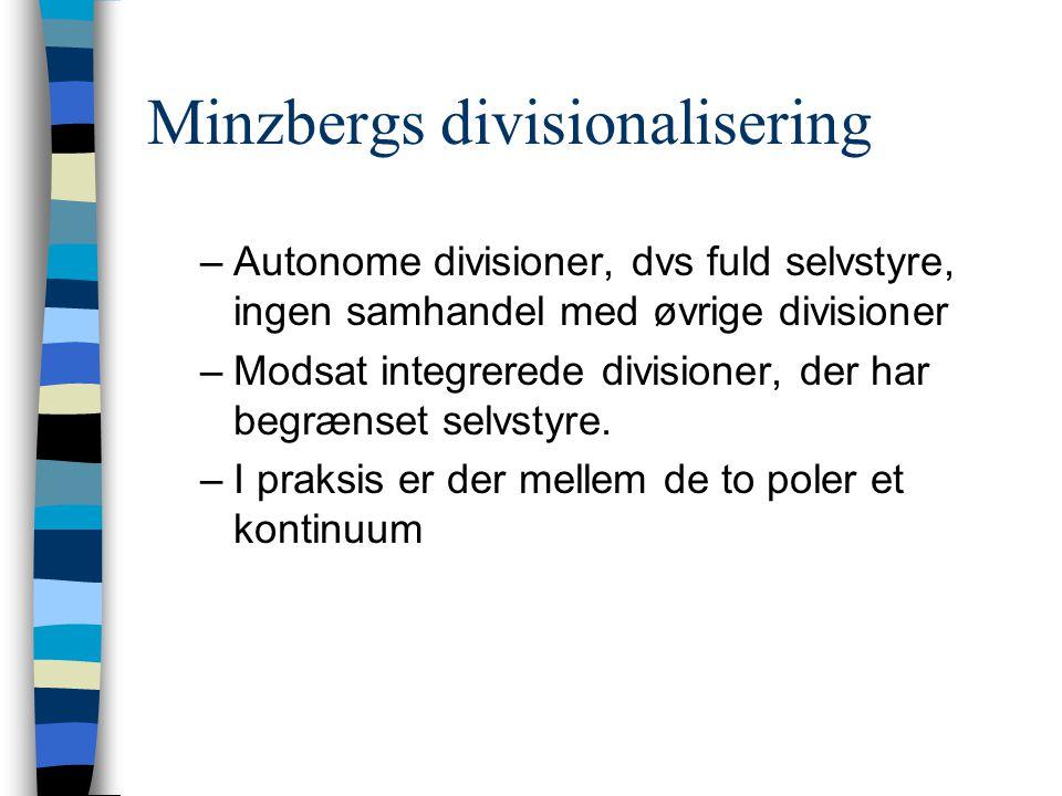 Minzbergs divisionalisering –Autonome divisioner, dvs fuld selvstyre, ingen samhandel med øvrige divisioner –Modsat integrerede divisioner, der har begrænset selvstyre.