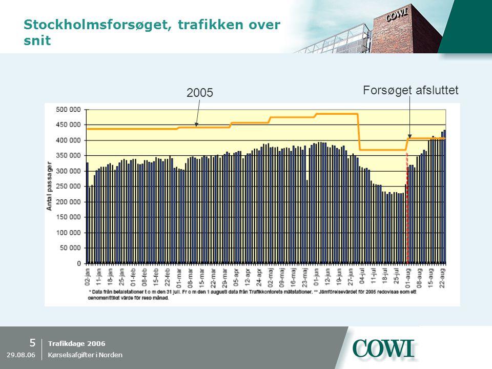 Trafikdage 2006 5 29.08.06 Kørselsafgifter i Norden Stockholmsforsøget, trafikken over snit 2005 Forsøget afsluttet