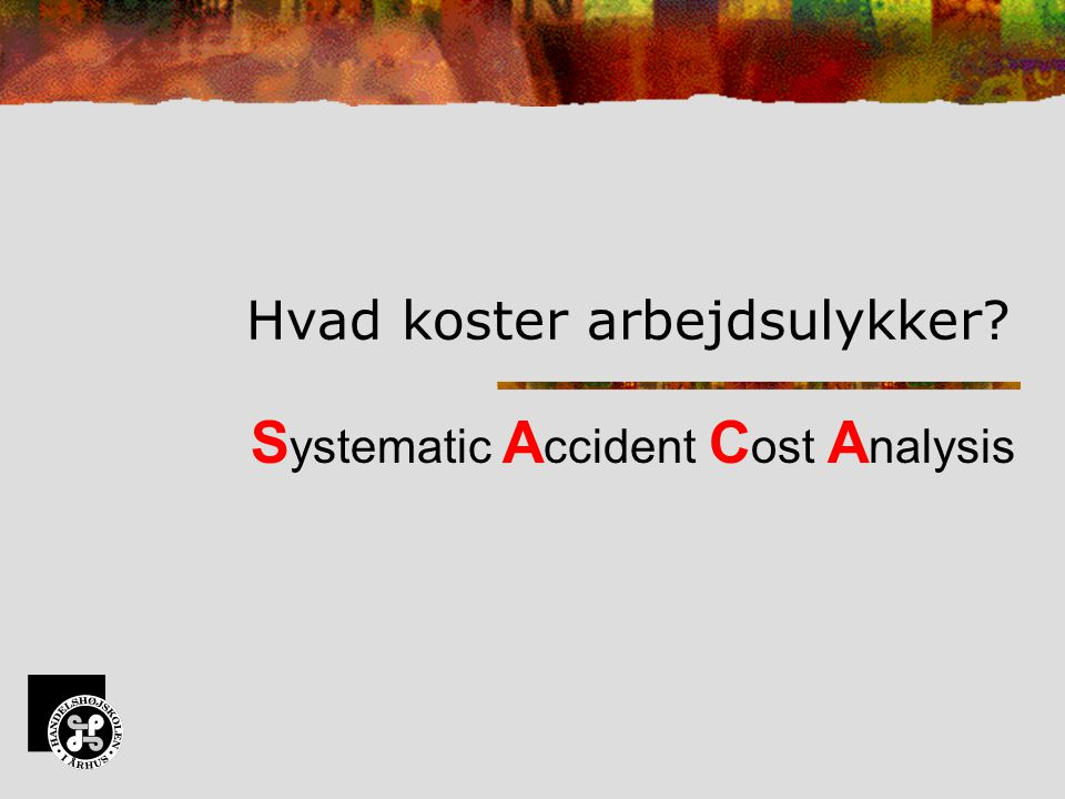 S ystematic A ccident C ost A nalysis Hvad koster arbejdsulykker