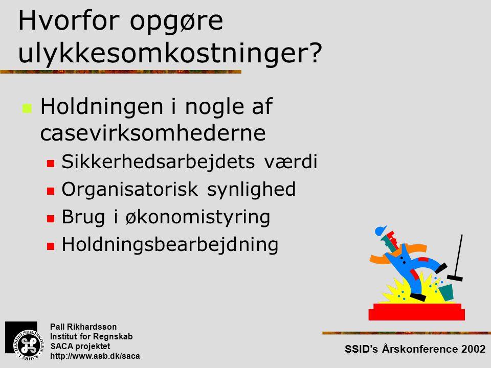 Pall Rikhardsson Institut for Regnskab SACA projektet http://www.asb.dk/saca SSID's Årskonference 2002 Hvorfor opgøre ulykkesomkostninger.