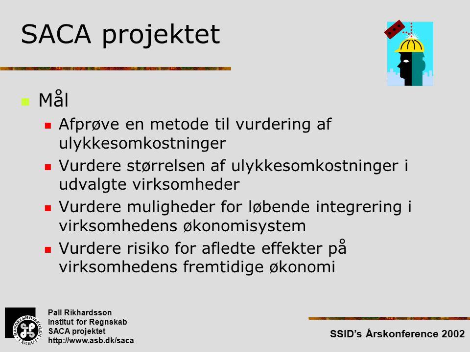 Pall Rikhardsson Institut for Regnskab SACA projektet http://www.asb.dk/saca SSID's Årskonference 2002 SACA projektet Mål Afprøve en metode til vurdering af ulykkesomkostninger Vurdere størrelsen af ulykkesomkostninger i udvalgte virksomheder Vurdere muligheder for løbende integrering i virksomhedens økonomisystem Vurdere risiko for afledte effekter på virksomhedens fremtidige økonomi