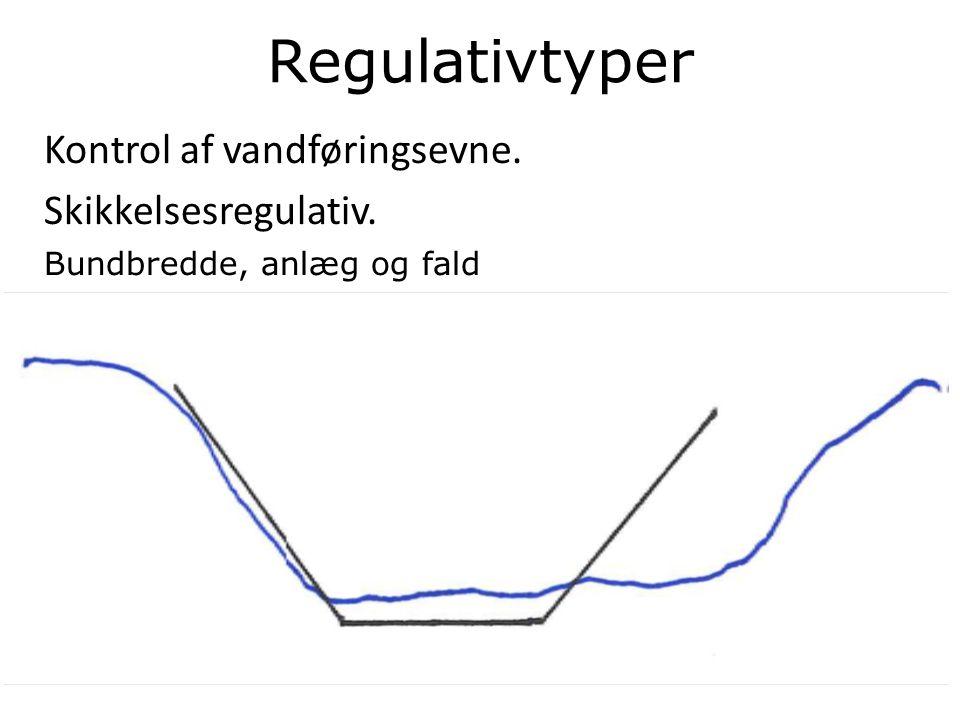 Regulativtyper Kontrol af vandføringsevne. Skikkelsesregulativ. Bundbredde, anlæg og fald