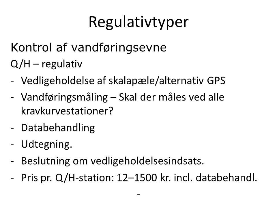 Regulativtyper Kontrol af vandføringsevne Q/H – regulativ -Vedligeholdelse af skalapæle/alternativ GPS -Vandføringsmåling – Skal der måles ved alle kravkurvestationer.