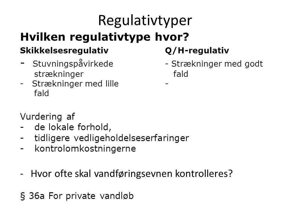 Hvilken regulativtype hvor.