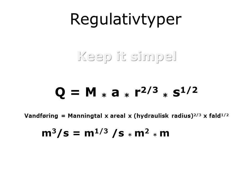 Regulativtyper Keep it simpel Q = M * a * r 2/3 * s 1/2 Vandføring = Manningtal x areal x (hydraulisk radius) 2/3 x fald 1/2 m 3 /s = m 1/3 /s * m 2 * m