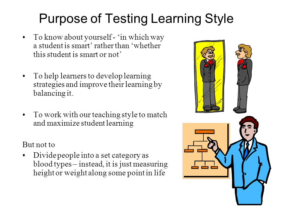 Purpose of Testing Learning Style To know about yourself - 'in which way a student is smart' rather than 'whether this student is smart or not' To help learners to develop learning strategies and improve their learning by balancing it.