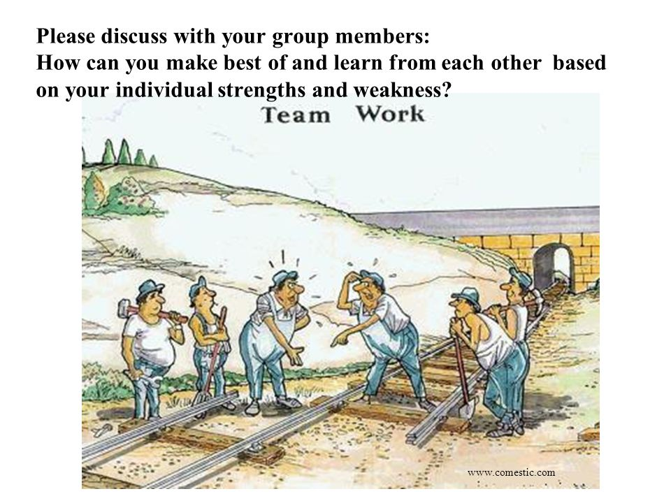 www.comestic.com Please discuss with your group members: How can you make best of and learn from each other based on your individual strengths and weakness