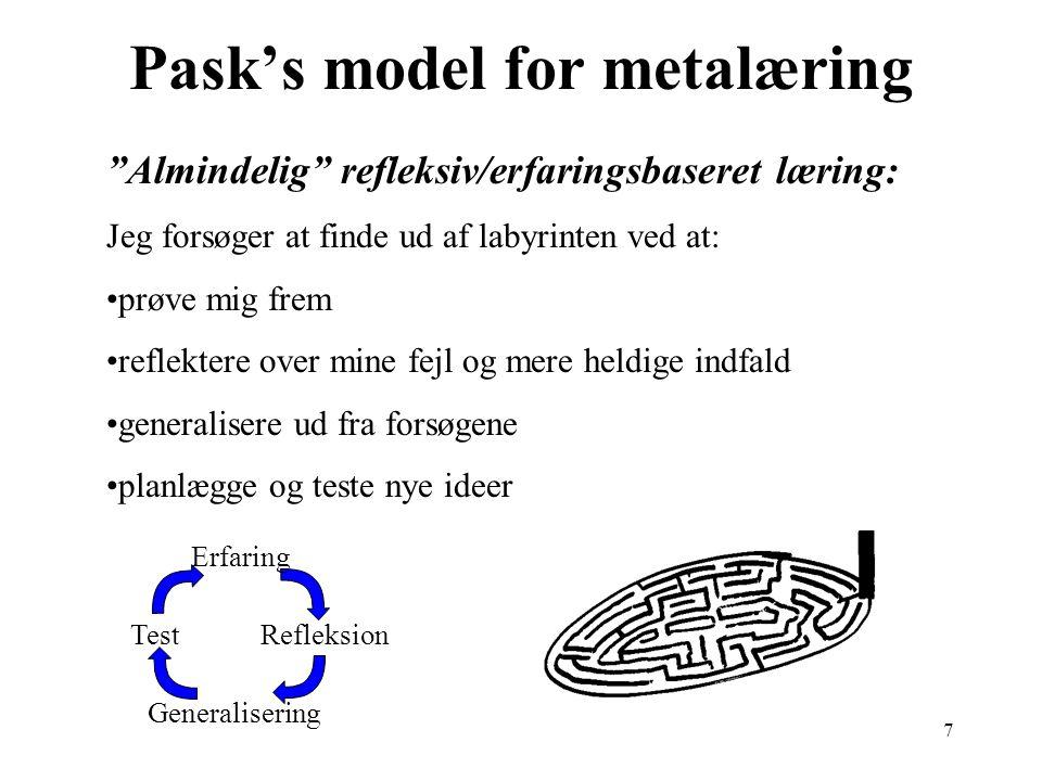 7 Pask's model for metalæring Test Generalisering Refleksion Erfaring Almindelig refleksiv/erfaringsbaseret læring: Jeg forsøger at finde ud af labyrinten ved at: prøve mig frem reflektere over mine fejl og mere heldige indfald generalisere ud fra forsøgene planlægge og teste nye ideer