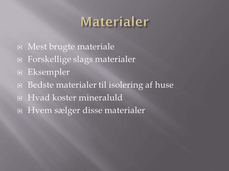  Mest brugte materiale  Forskellige slags materialer  Eksempler  Bedste materialer til isolering af huse  Hvad koster mineraluld  Hvem sælger disse materialer