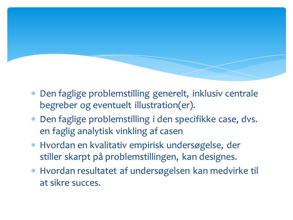  Den faglige problemstilling generelt, inklusiv centrale begreber og eventuelt illustration(er).