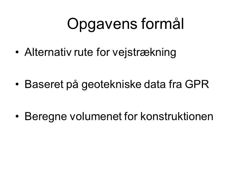 Opgavens formål Alternativ rute for vejstrækning Baseret på geotekniske data fra GPR Beregne volumenet for konstruktionen