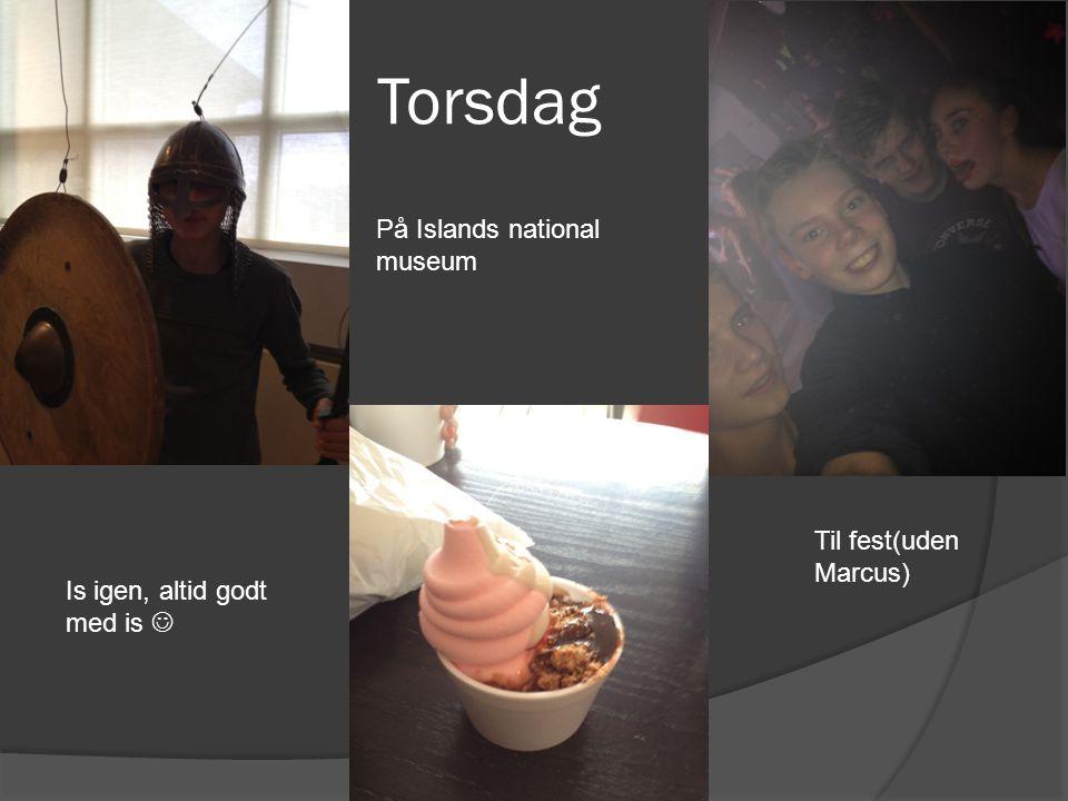 Torsdag På Islands national museum Is igen, altid godt med is Til fest(uden Marcus)