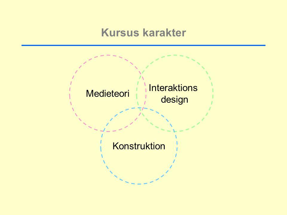 Kursus karakter Medieteori Interaktions design Konstruktion