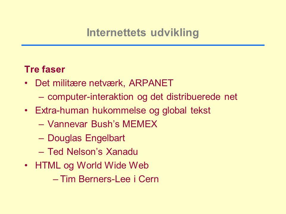 Internettets udvikling Tre faser Det militære netværk, ARPANET –computer-interaktion og det distribuerede net Extra-human hukommelse og global tekst –Vannevar Bush's MEMEX –Douglas Engelbart –Ted Nelson's Xanadu HTML og World Wide Web –Tim Berners-Lee i Cern