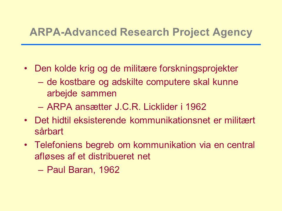 ARPA-Advanced Research Project Agency Den kolde krig og de militære forskningsprojekter –de kostbare og adskilte computere skal kunne arbejde sammen –ARPA ansætter J.C.R.