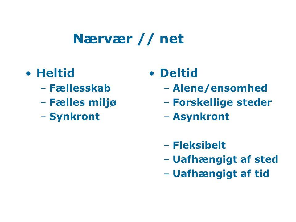 Net: Møde Få parallelle aktiviteter: –Opgaver Respons –Workshops Konstruktion –Netseminarer Dialog –Projektarbejde Samarbejde