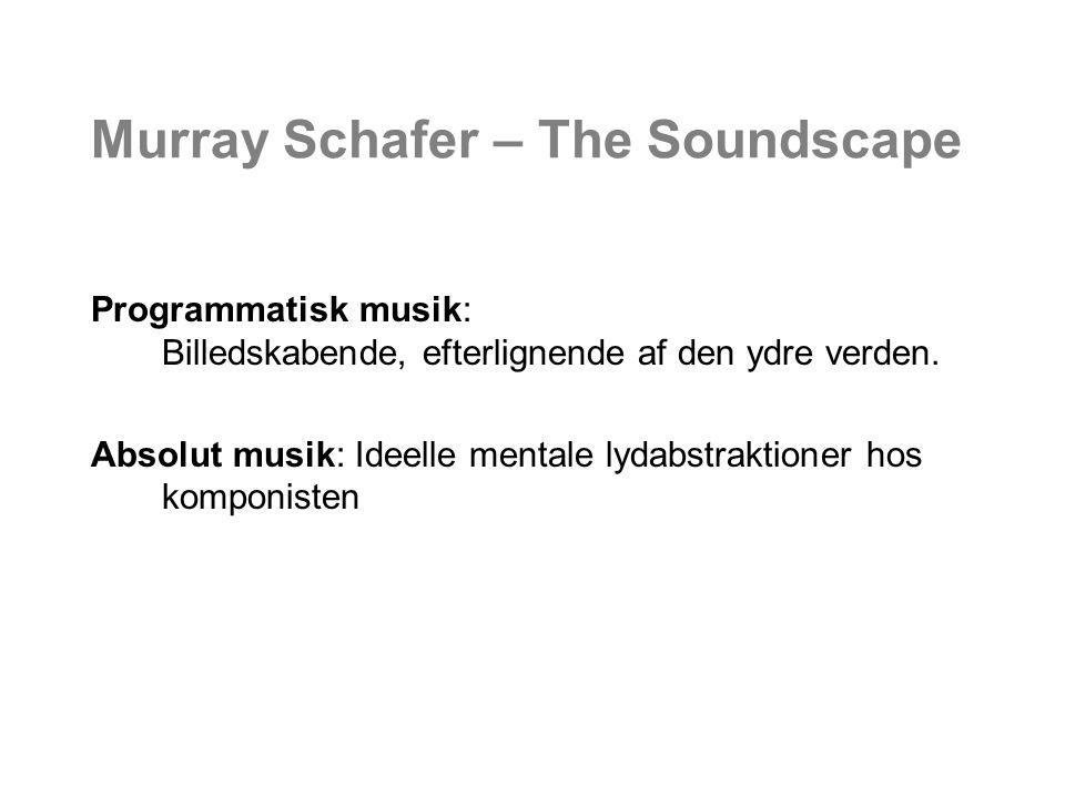 Murray Schafer – The Soundscape Programmatisk musik: Billedskabende, efterlignende af den ydre verden.
