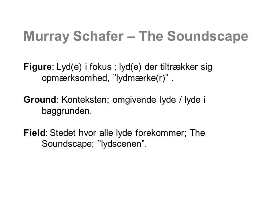 Murray Schafer – The Soundscape Figure: Lyd(e) i fokus ; lyd(e) der tiltrækker sig opmærksomhed, lydmærke(r) .