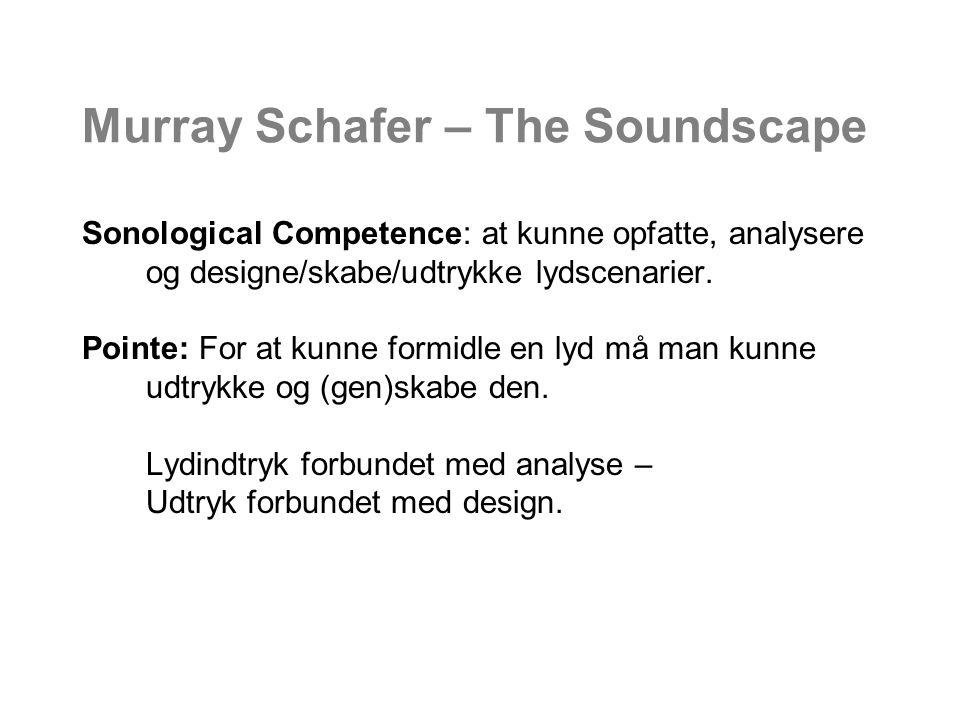 Murray Schafer – The Soundscape Sonological Competence: at kunne opfatte, analysere og designe/skabe/udtrykke lydscenarier.