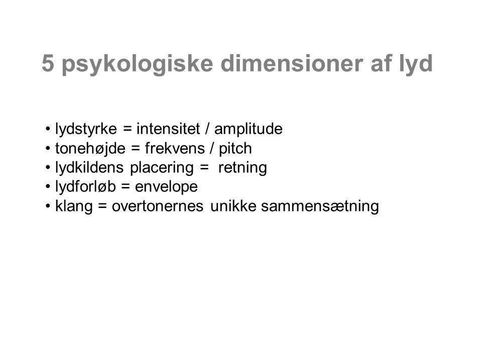 5 psykologiske dimensioner af lyd lydstyrke = intensitet / amplitude tonehøjde = frekvens / pitch lydkildens placering = retning lydforløb = envelope klang = overtonernes unikke sammensætning