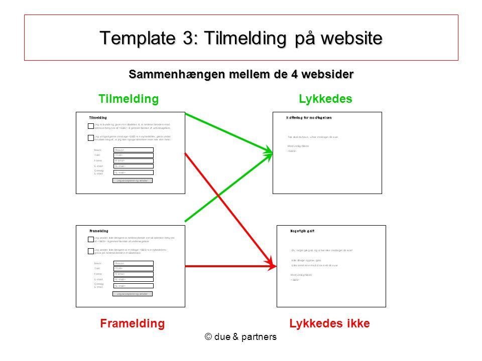 © due & partners Tilmelding FrameldingLykkedes ikke Lykkedes Template 3: Tilmelding på website Sammenhængen mellem de 4 websider