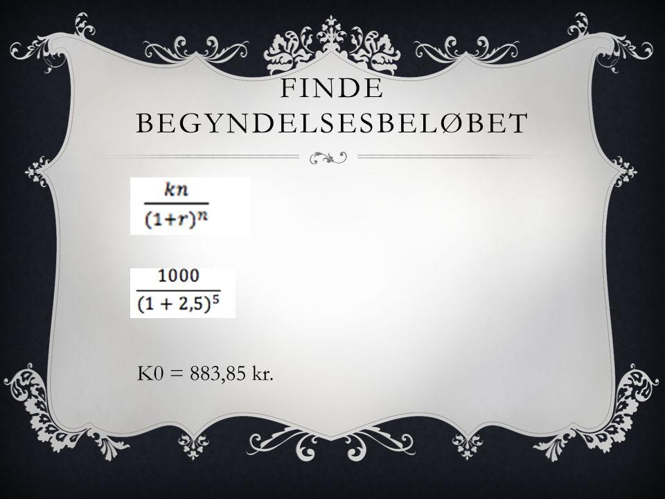 FINDE BEGYNDELSESBELØBET K0 = 883,85 kr.