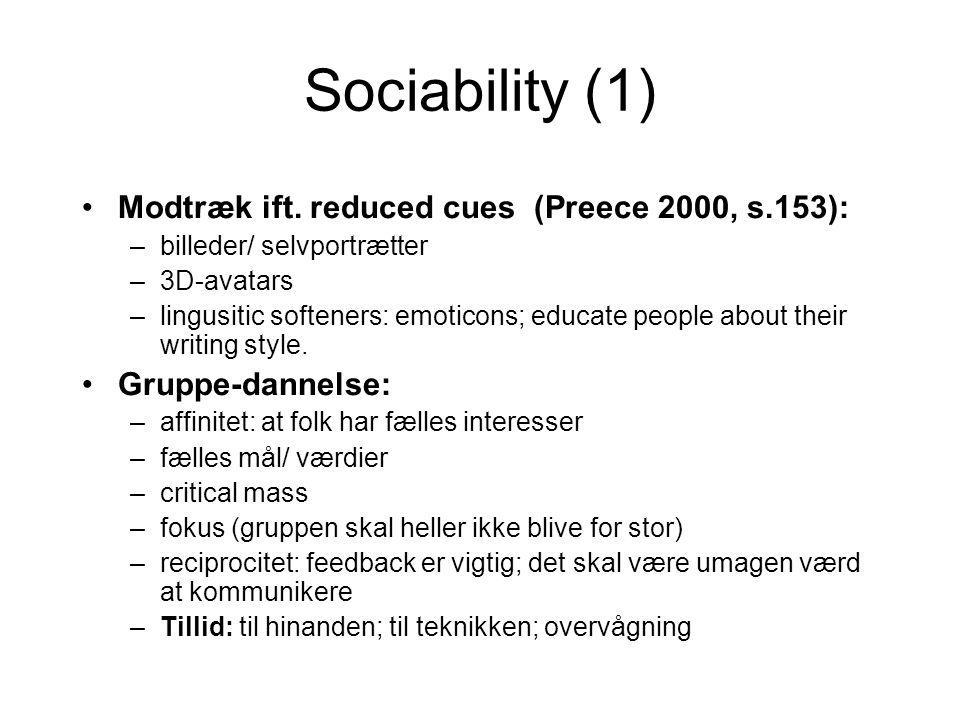 Sociability (1) Modtræk ift.