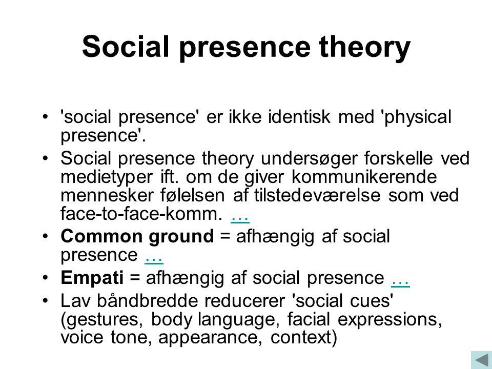 Social presence theory social presence er ikke identisk med physical presence .