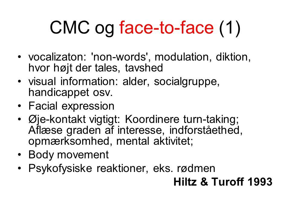 CMC og face-to-face (1) vocalizaton: non-words , modulation, diktion, hvor højt der tales, tavshed visual information: alder, socialgruppe, handicappet osv.