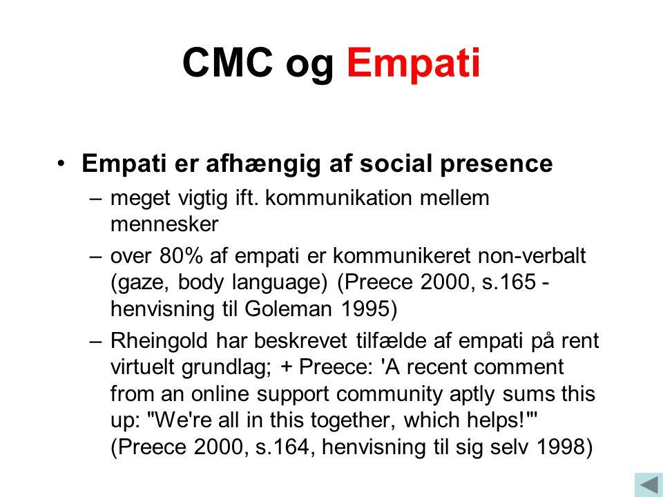 CMC og Empati Empati er afhængig af social presence –meget vigtig ift.