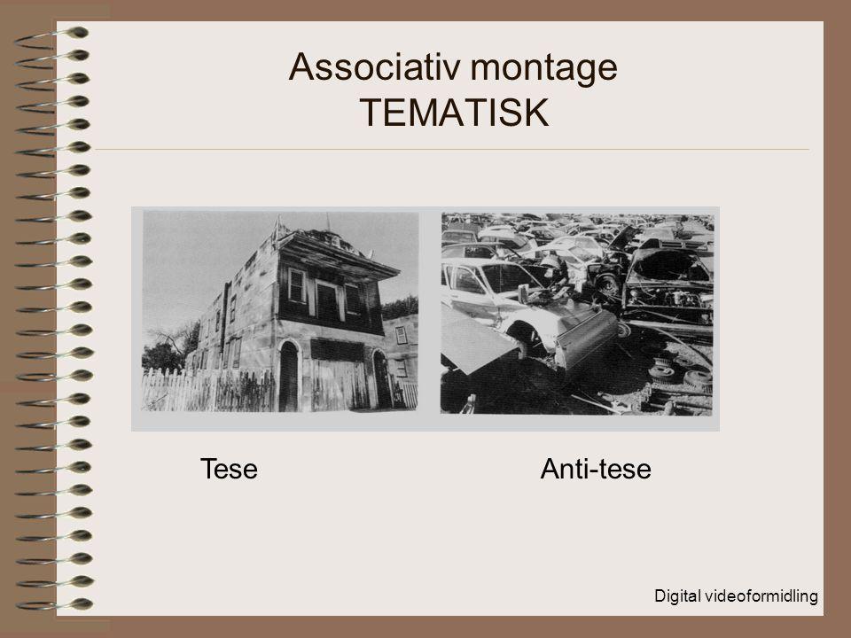 Digital videoformidling Associativ montage TEMATISK TeseAnti-tese