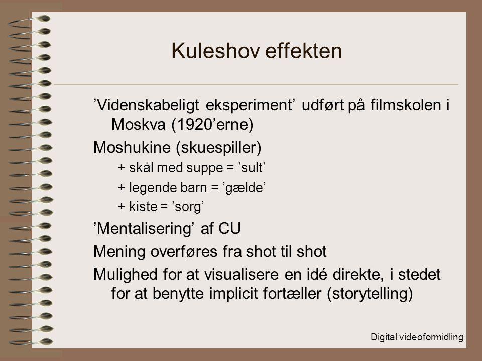 Digital videoformidling Kuleshov effekten 'Videnskabeligt eksperiment' udført på filmskolen i Moskva (1920'erne) Moshukine (skuespiller) + skål med suppe = 'sult' + legende barn = 'gælde' + kiste = 'sorg' 'Mentalisering' af CU Mening overføres fra shot til shot Mulighed for at visualisere en idé direkte, i stedet for at benytte implicit fortæller (storytelling)